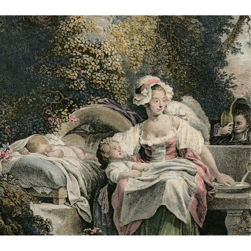 La Bonne Mere by Jean-Honoré Fragonard Lithograph Postcard from Polish Count's Collection