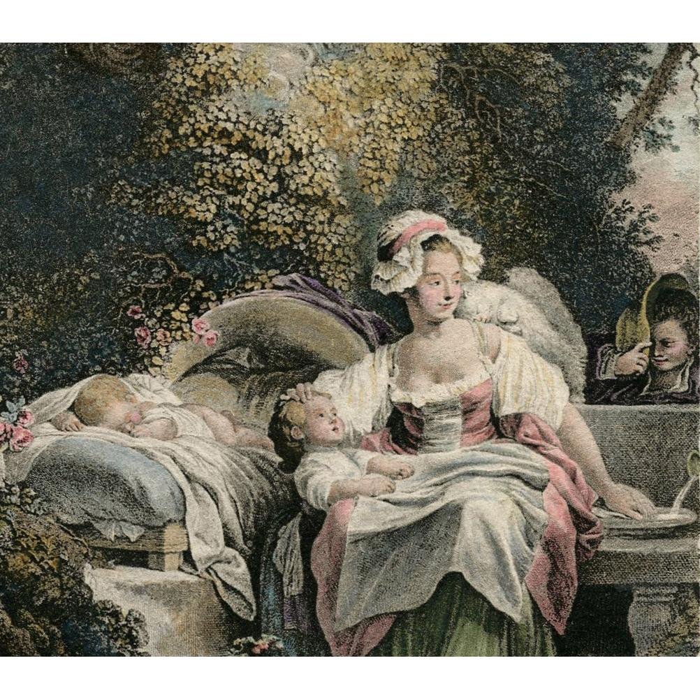 La Bonne Mere by Jean-Honoré Fragonard Lithograph Postcard from Polish Count's Collection