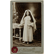 Girl's First Communion Antique French Sepia Cabinet Card from Brussels