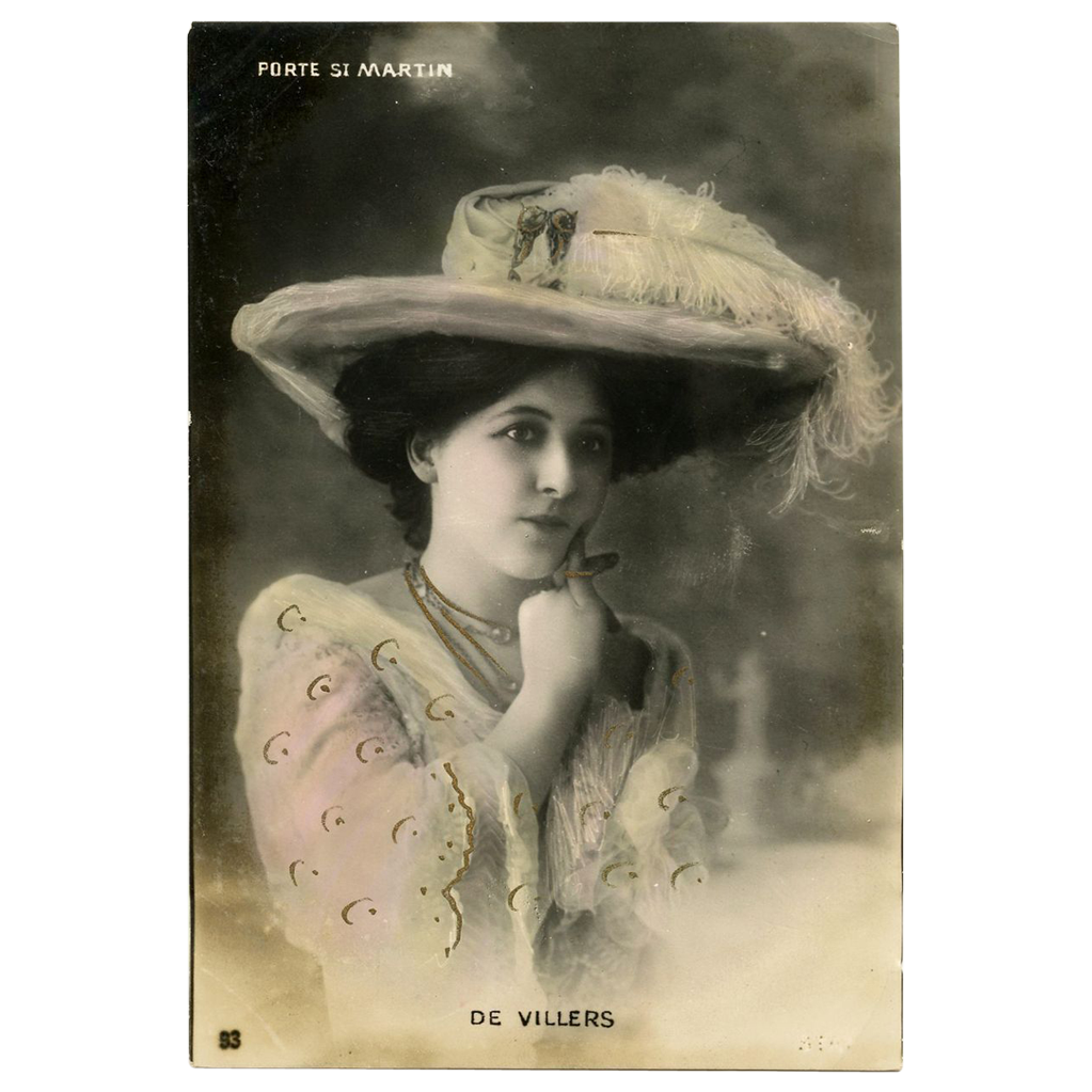 Real Photo Glamour postcard of Marthe de Villers Hand Detailed