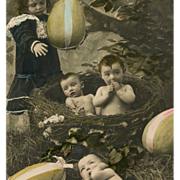 Girl with huge Eggs and Babies in Nest Antique French Real Photo Postcard
