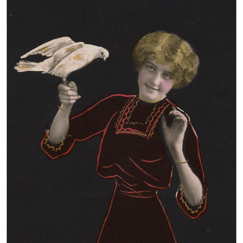 Lady with Pigeon 1916 French Trompe l'Oeil postcard Coles Phillips Negative Space Style