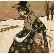 Mother Daughter Snow Scene by Ethel Parkinson Antique Postcard Mint Condition - Red Tag Sale Item