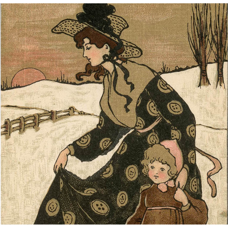 Mother Daughter Snow Scene by Ethel Parkinson Antique Postcard Mint Condition