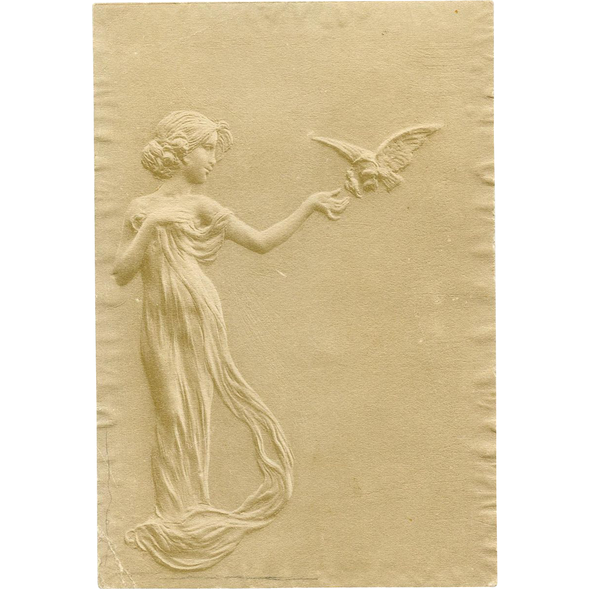 Art Nouveau Illustration with Embossed Edges of Woman with Bird