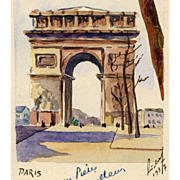 Artist Signed and Numbered Watercolor of Arc de Triomphe