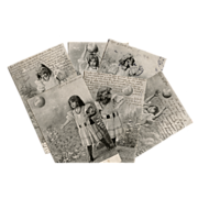 Edwardian Girl Playing with Ball Complete Series of 6 Antique Postcards - Red Tag Sale Item