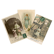 3 Antique French Christmas Postcards: Angel, Shopping and Edwardian Girl