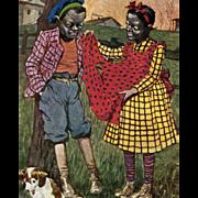 Black Girl's Torn Red Apron 1908 Austrian Postcard Artist Signed