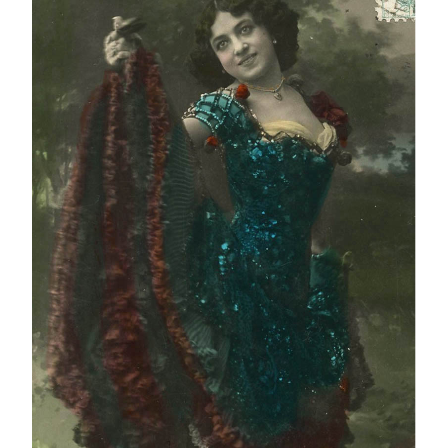 1906 Glamour Postcard Woman in Cancan Ruffled Dress with Sequins