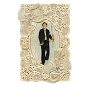 19th Century Lace Die Cut French Holy Card Boy's First Communion 3-D