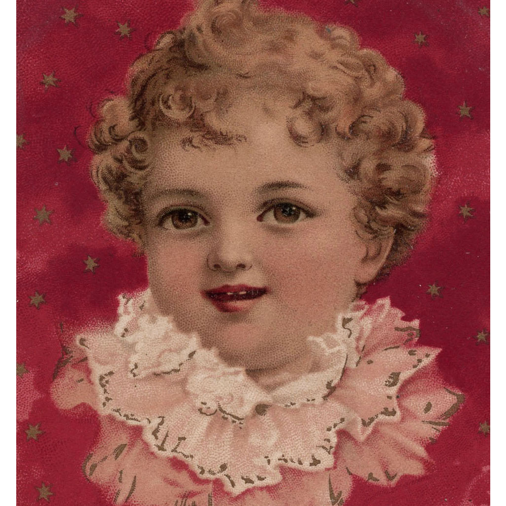 1900 German Greetings Postcard of Baby and Stars