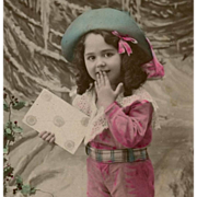 Edwardian child Happy New Year French Postcard Painted by Hand
