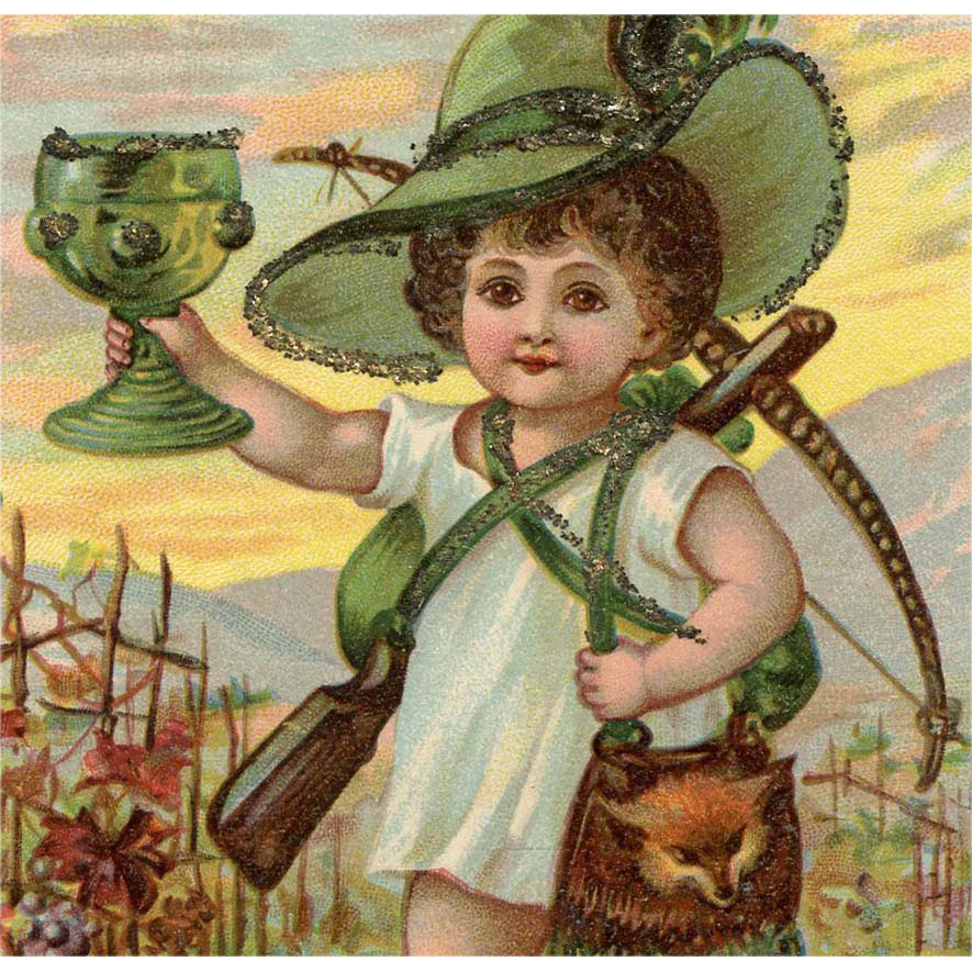 Hunting Lad with Fox Purse Drinking a Toast Glittered Antique Postcard
