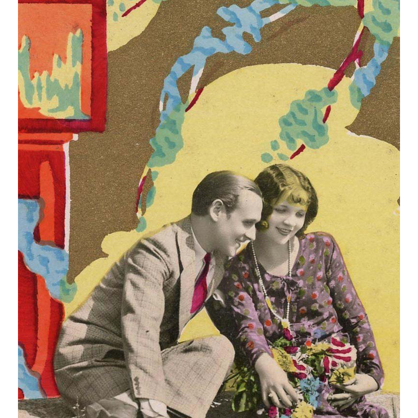 Art Deco French Postcard Handpainted Gold Overlay 1920s Couple