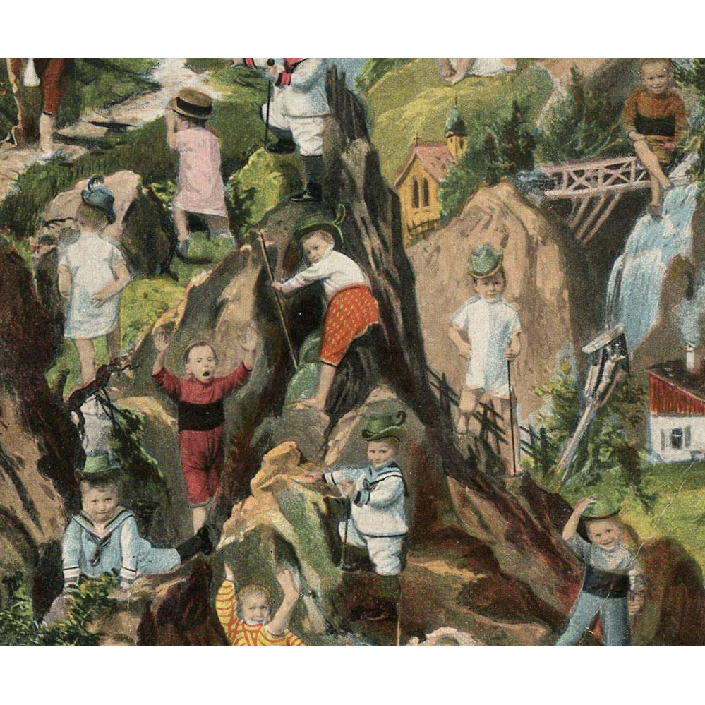 Multiple Babies Climbing Alps Antique Chromolithograph Postcard