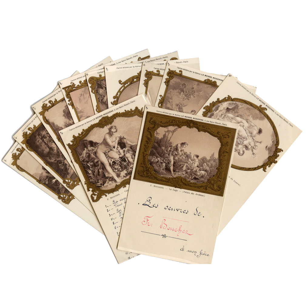 11 Antique Postcards of François Boucher Art with Gold Overlay Frames