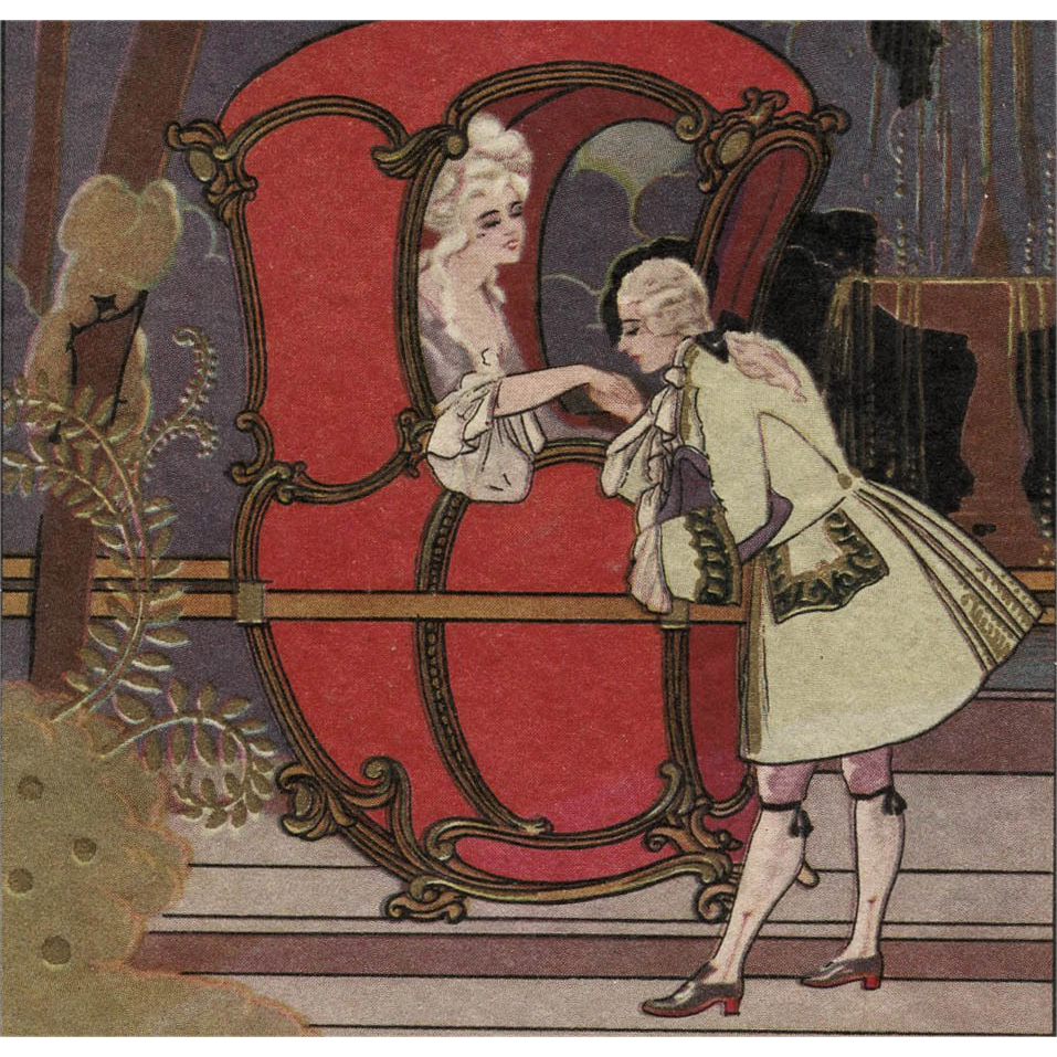 17th Century Marquis Couple Vintage Italian Postcard Woman in Sedan Chair