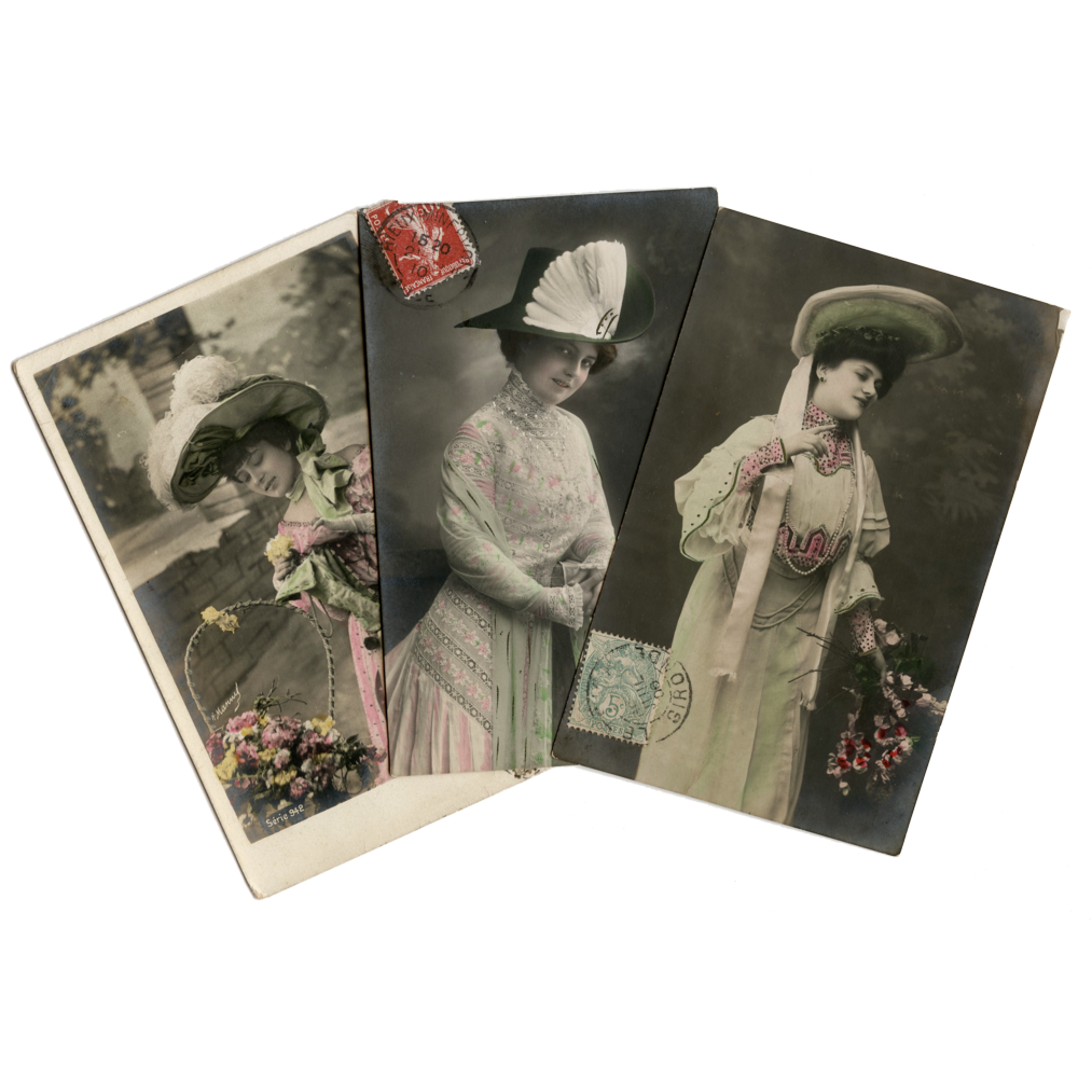 3 Edwardian Real Photo Fashion Postcards Women in Green and Pink with Hats