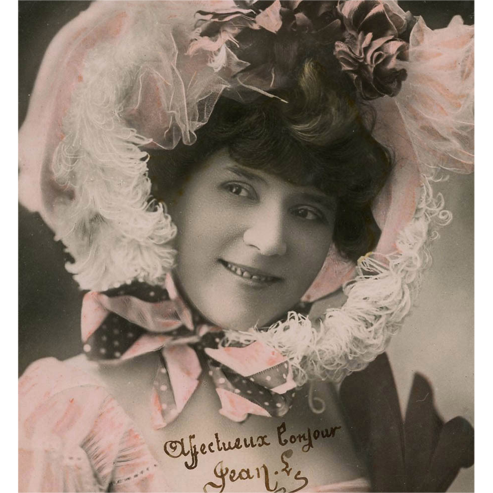 Color Tinted Real Photo Postcard of French Vaudeville Star in Pink