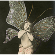 Good Luck Butterfly Child Fantasy Collage Antique French Postcard