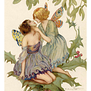 Two Butterfly Fairies Kissing on Holly Branch Artist-Signed Postcard