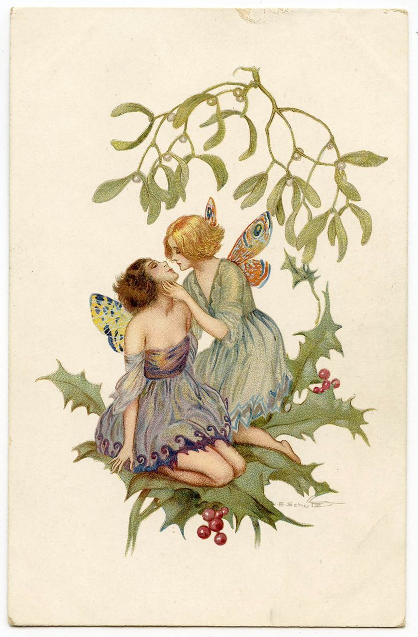 two butterfly fairies kissing on holly branch artist signed