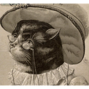 1906 Embossed Postcard of Humanized Cat with Glasses and Clothing