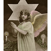Joyxeux Noel French postcard photo collage of Angel with Star and Candles