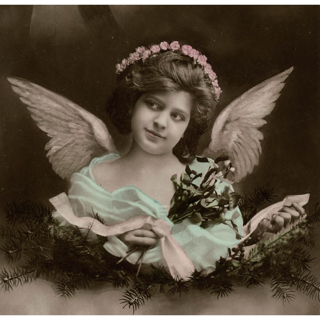 Angel and Star Antique German French Montage postcard