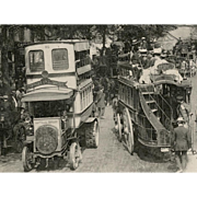 1914 Paris City Scene of Omnibus Station and Horse Carriages
