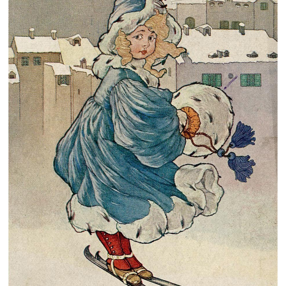 Polish Winter Postcard of Blonde Girl in Blue on Skis