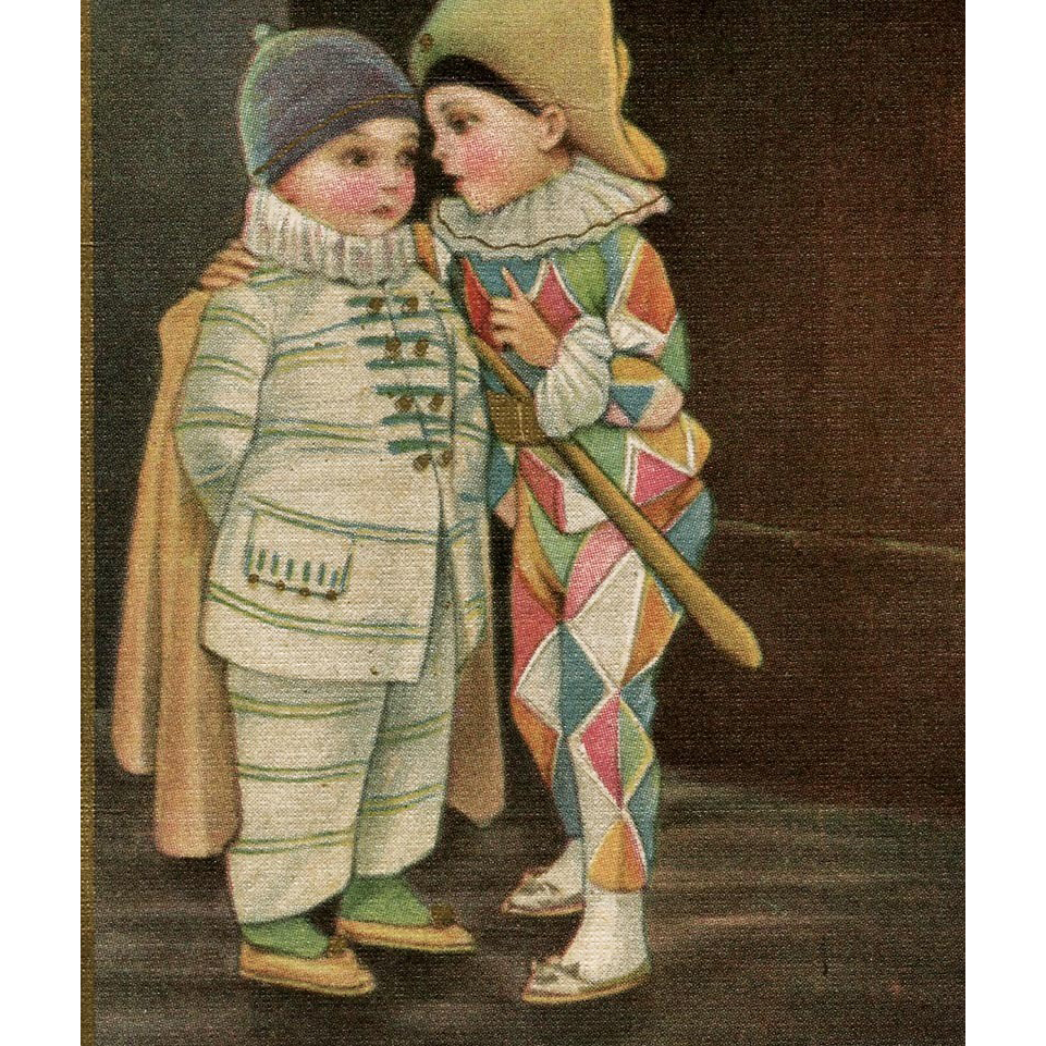 Pierrot and Jester illustrated vintage postcard by Colombo