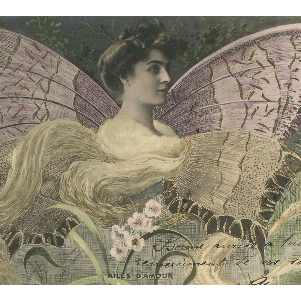 Butterfly Lady Fantasy Montage French Postcard from 1905