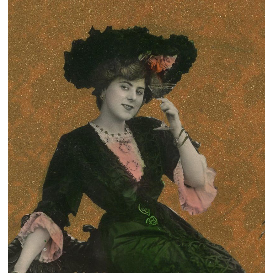 Edwardian woman Toasting with Glass of Champagne Antique Postcard