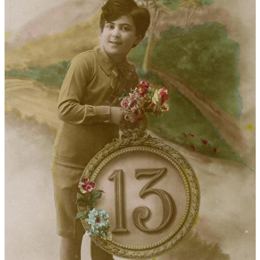 Lucky 13 French Postcard with Edwardian Boy