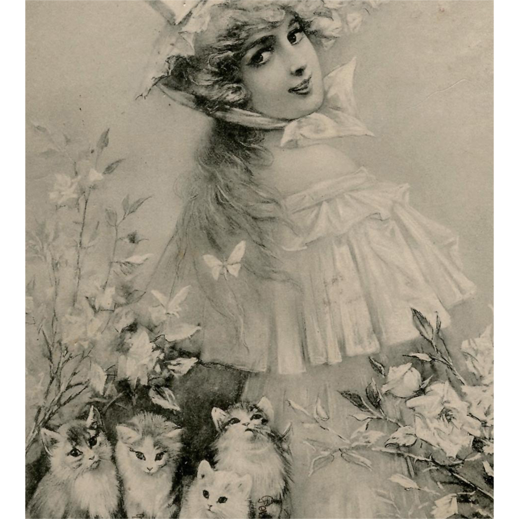 1905 Tuck Postcard of Woman with Kittens