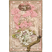3-D Souvenir of May French Birthday Postcard with Pink Ribbons