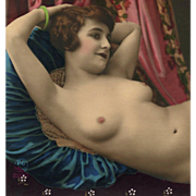 Hand Tinted French Nude Sepia Photo of Reclining Brunette - Red Tag Sale Item