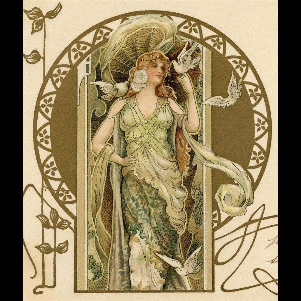Art Nouveau Eva Daniell Gold Overprint 1904 Postcard