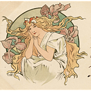 Original 1900 Alphonse Mucha French Postcard of Blonde Woman