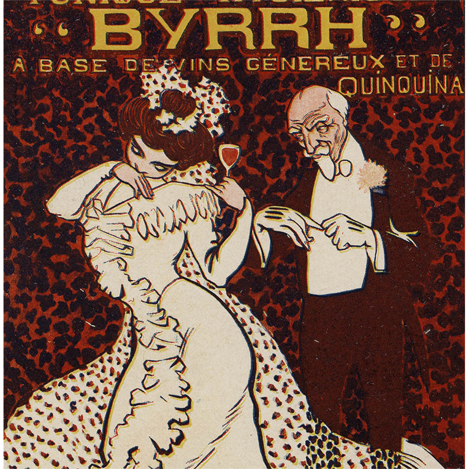 French Art Nouveau 1906 Byrrh Postcard with Edwardian Couple