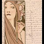 Alphonse Mucha's Femme a La Plume 1902 Original French Postcard