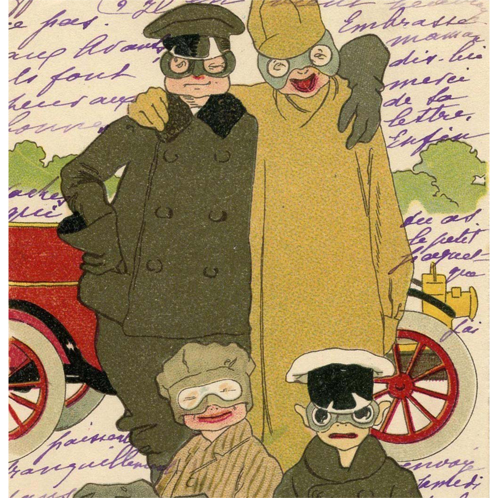 Humorous Illustration of Drivers with Goggles Antique Postcard