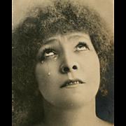Sarah Bernhardt Tears Real Photo Antique German Postcard c. 1903