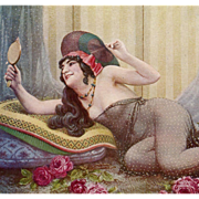 "Orientalist Art by Seeberger ""Odalisk"" Harem Concubine Salon De Paris Unused French Postcard"