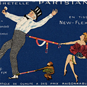 "Vintage French ""Parisiana"" Suspenders Advertisement Postcard Edwardian Couple with Monkey"