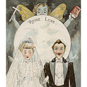 Full Moon French Edwardian Couple Wedding Postcard with Butterfly Fairy