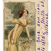 Beauty in Yellow 1902 Art Nouveau Illustrated Postcard with Gold Overlay Accents