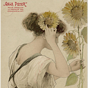 Art Nouveau Gala Peter French Advertising Postcard Beauty with Sunflowers
